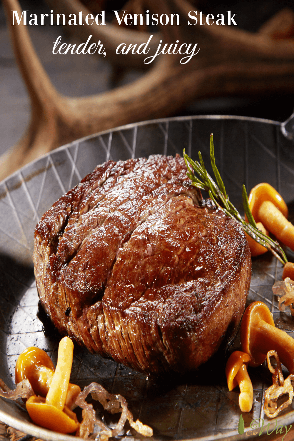 Grilled Marinated Venison Steak is first marinated and then grilled to perfection. The deer meat is tender and juicy with no gamey taste. The marinade can also be used for other game meat. #venison, #venisonsteak, #deer, #deersteak, #grilledvenisonsteak, #venisonmarinade, #wildgamegrilling, #wildgamemarinade, #deermeat, #howtojudgemeatwithoutthermometer, #allourway