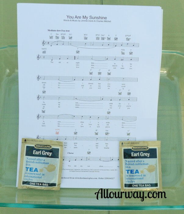 easy, inexpensive, tea stained, sheet music, framed, matted