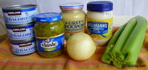 tuna salad,hot mustard, jalapeno, dill pickle relish, grey poupon, hot mustard, mayonnaise,onion,celery