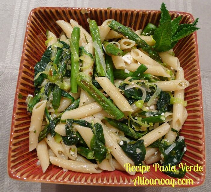 Pasta Verde or Green Pasta is a dish that is as fresh as springtime. Bright flavors are loaded in this pasta
