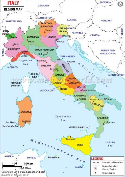 Italy, 20 regions, map