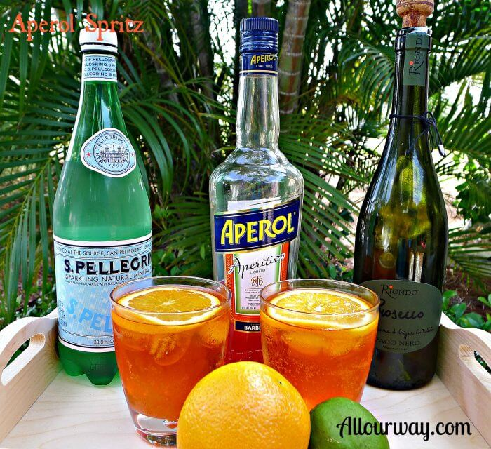 Aperol Spritz made with Aperol Liqueur, Prosecco, San Pellegrino Sparkling Water