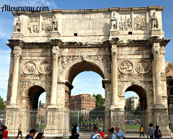 Arch of constantine, Rome, Italy, front, Colosseum , pasta alla carbonara