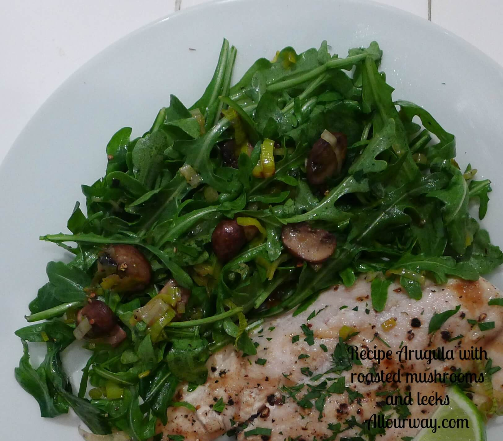 Baby Arugula Tossed With Roasted Mushrooms and Leeks