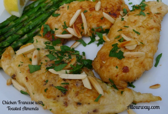 chicken Francese, toasted almonds, Italian Parsley