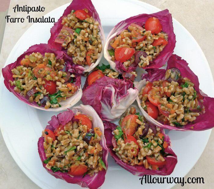 Farro salad inside red radicchio cups @allourway.com