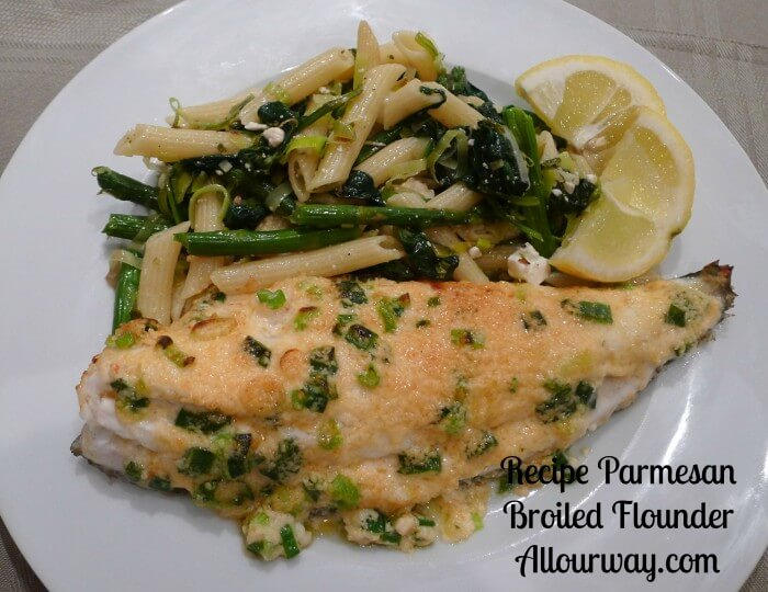 parmesan broiled flounder with pasta verde.
