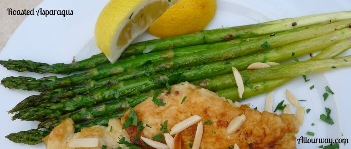 Roasted asparagus is served with Chicken Francese @allourway.com