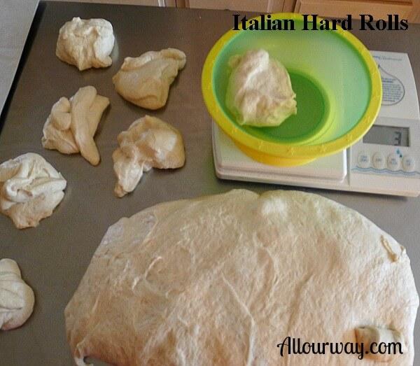 Italian, hard, rolls, panini, bench, scale