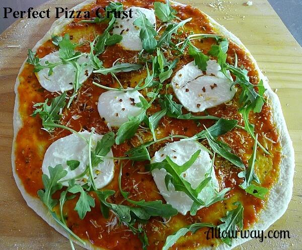 perfect, pizza, crust, arugula, pizza sauce, olive oil, fresh mozzarella