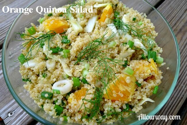 orange, fennel, salad, scallions, quinoa
