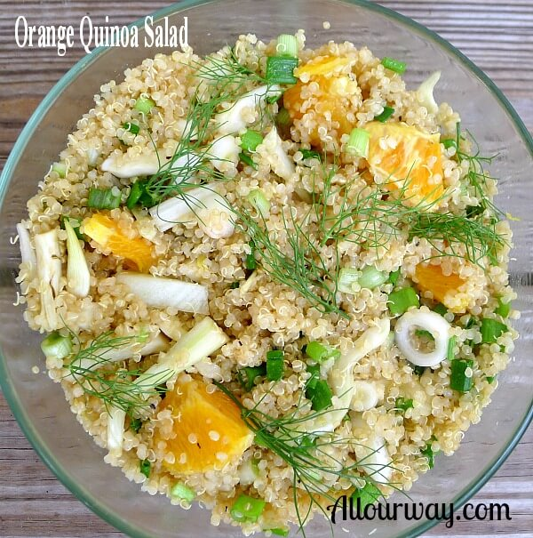 Orange Quinoa Fennel Salad @ Allourway.com