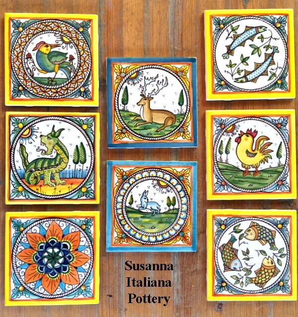 Majolica, hand painted, tiles