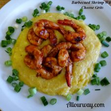 Spicy Barbecue Marinated Shrimp with Cheese Grits/Polenta