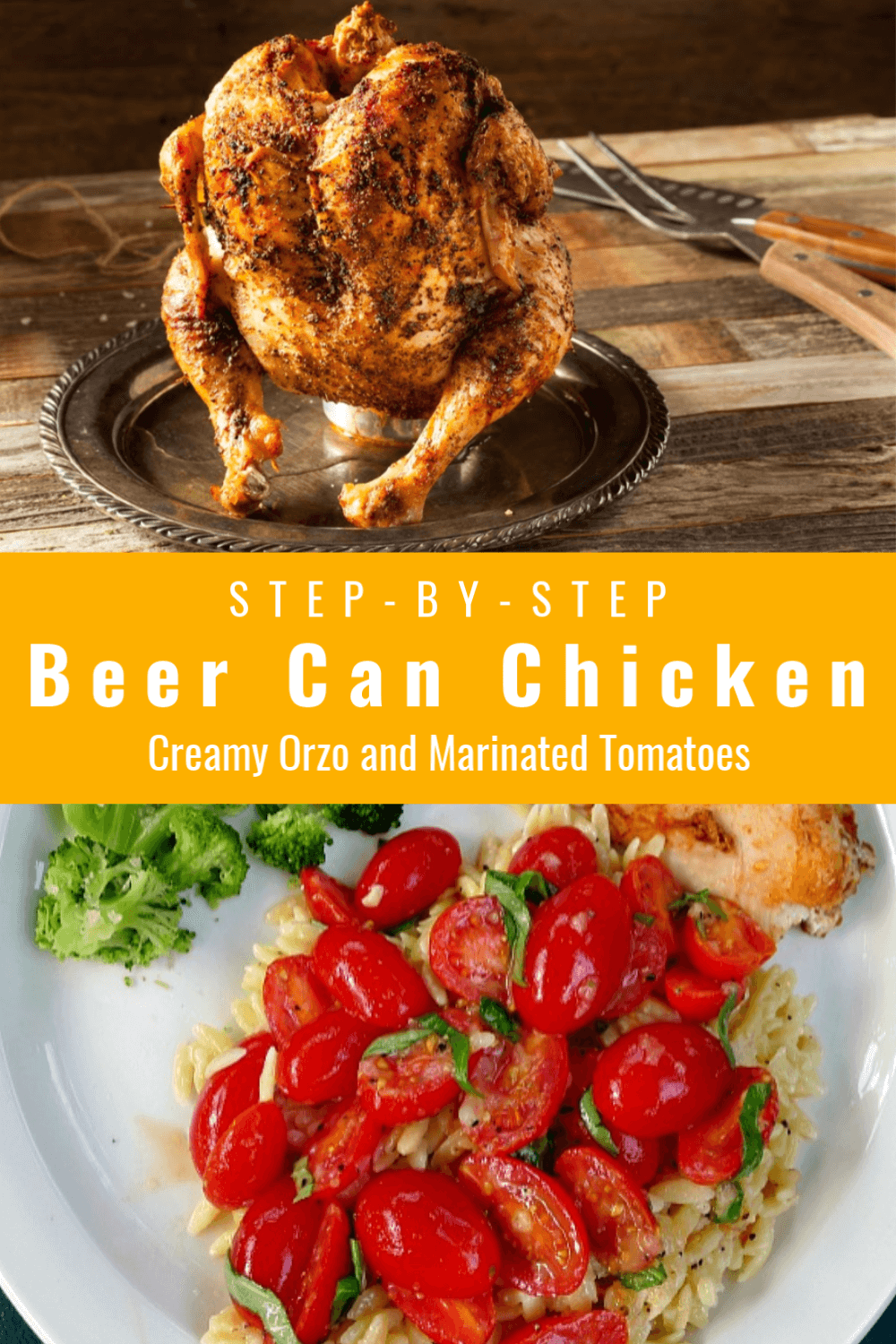 Drunken Chicken and Creamy Orzo with marinated tomatoes is a complete dish you and your family will love. The chicken takes little tending and the creamy orzo side is quick to come together. The seasoned beer makes the chicken tender and juicy, full of spicy flavor with the addition of hot sauce in the beer.