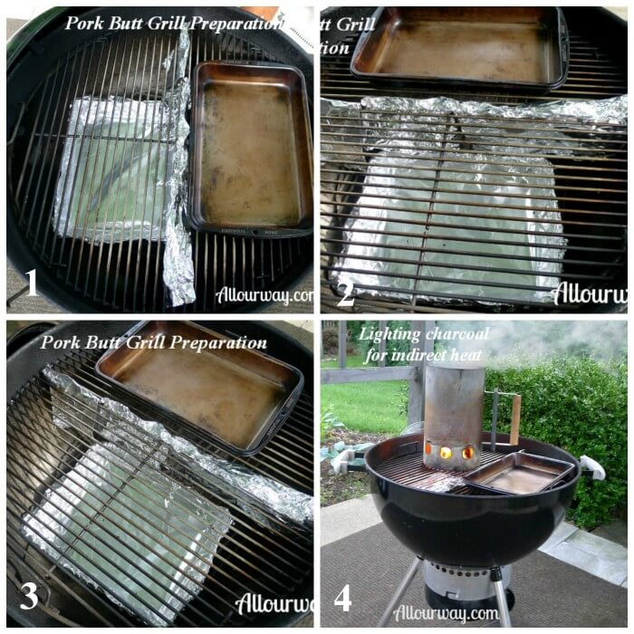 Technique for preparing the grill for pulled pork at Allourway.com
