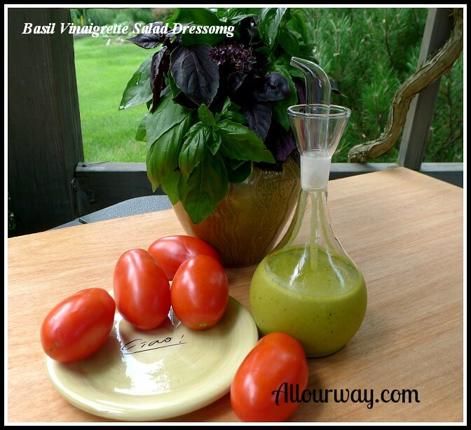 Basil Vinaigrette Salad Dressing made with the extra basil leaves at allourway.com