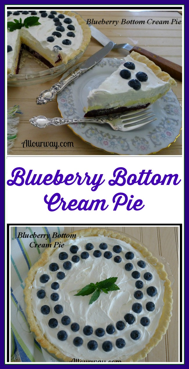 Blueberry Bottom Cream Pie @allourway.com