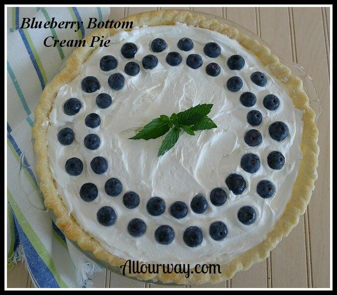 Blueberry Bottom Cream Pie a fluffy dessert that can be frozen at allourway.com