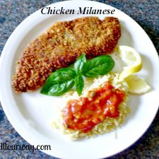 Chicken Milanese and Orzo topped With Quick Tomato Sauce at Allourway.com