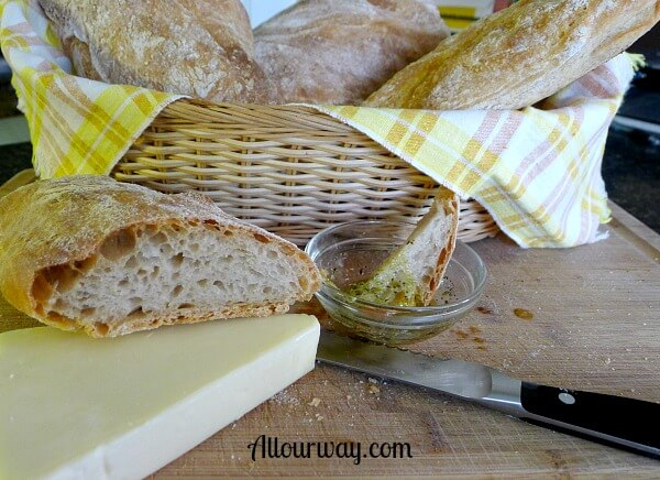 How to Make Ciabatta bread, a complete tutorial, a tasty bread served with cheese or dipped in olive oil at allourway.com