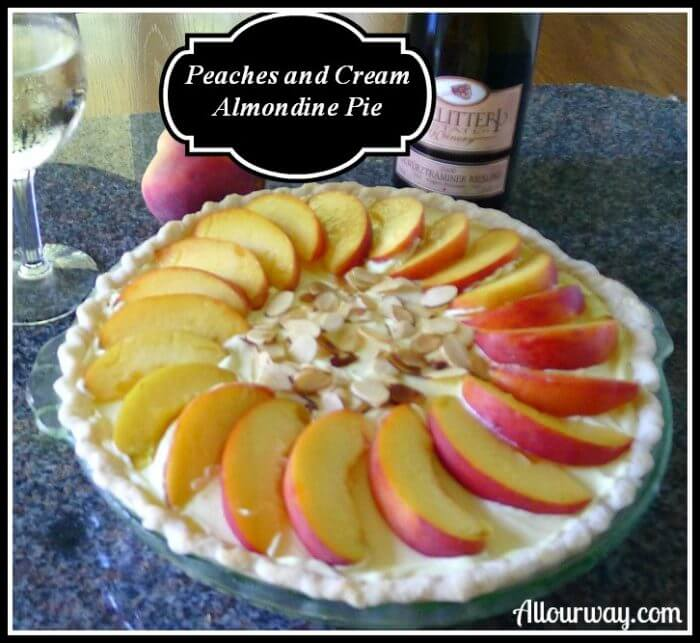 Peaches and Cream Almondine Pie, Quick, Easy at Allourway.com