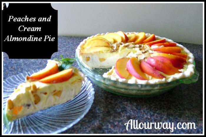 Peaches and Cream Almondine Pie is easy and quick at Allourway.com