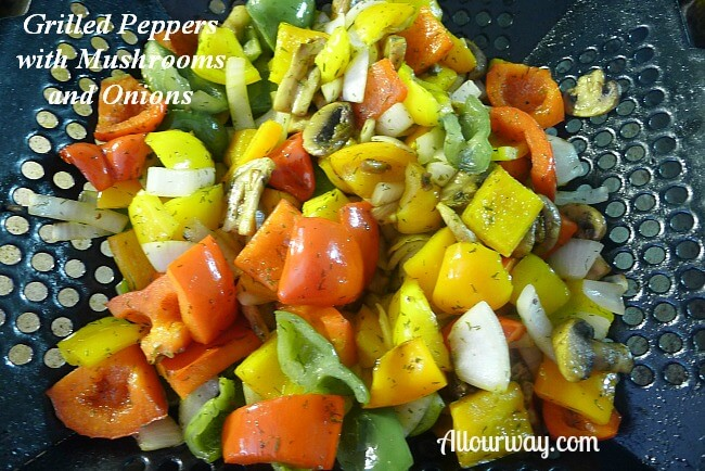 Grilled Peppers with Mushrooms and Onions at Allourway.com