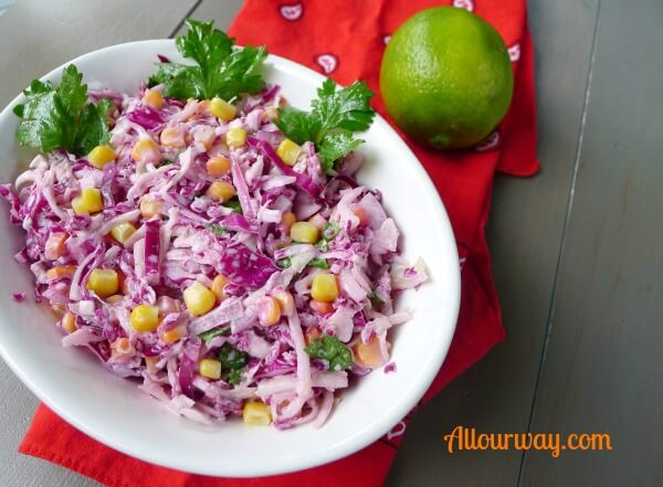 Southwestern Ranch coleslaw is made with ranch dressing spiced up with adobo sauce at allourway.com
