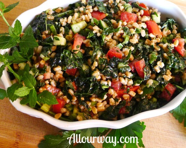 Farro Tabbouleh with Kale, Cucumber, Mint at allourway.com