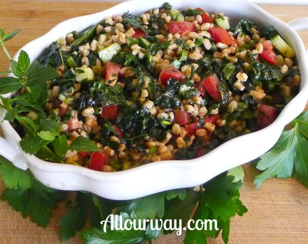 Farro Tabbouleh with Kale, Cucumber, Mint recipe at allourway.com