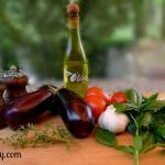Ingredients for grilled baby eggplant & plum tomatoes with fresh tomatoes at allourway.com