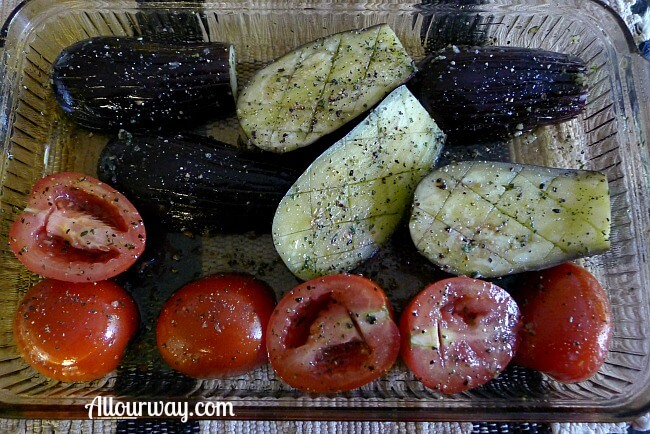 Marinating the Baby Eggplant & Plum Tomatoes Before Grilling at allourway.com