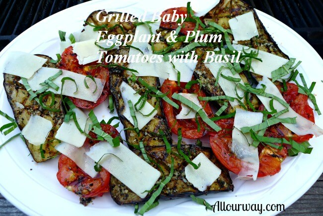 Grilled Baby Eggplant & Plum Tomatoes With Fresh Basil Recipes ...