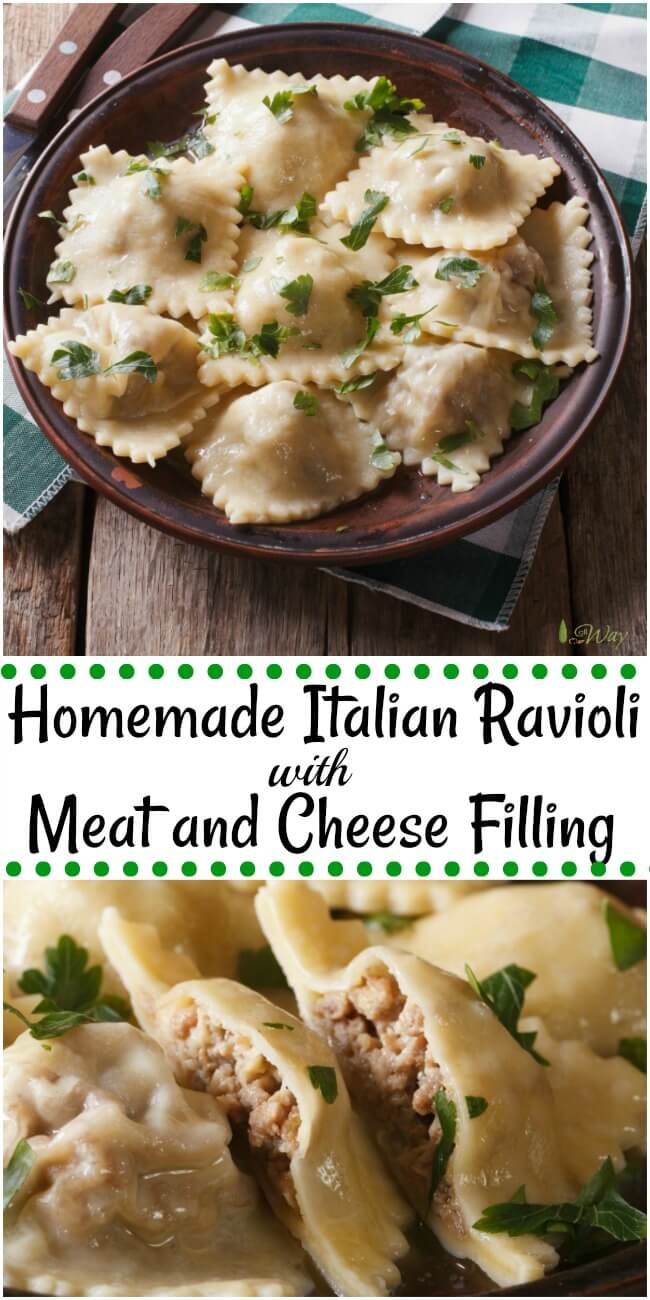 Homemade Italian Ravioli with meat and cheese filling sprinkled with green parsley leaves in a brown rustic bowl with wood handles knife and fork on the side and all on top of a green and white plaid towel on top of rustic wood table.