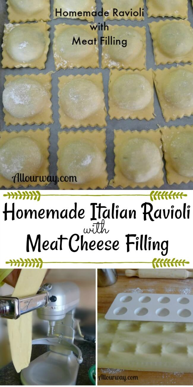 Italian Ravioli, little square dough rows lined up on cookie sheet ready to freeze and also another photo of a Kitchen aid mixer with pasta dough attachment and a ravioli maker that looks like an egg carton that makes the pockets.