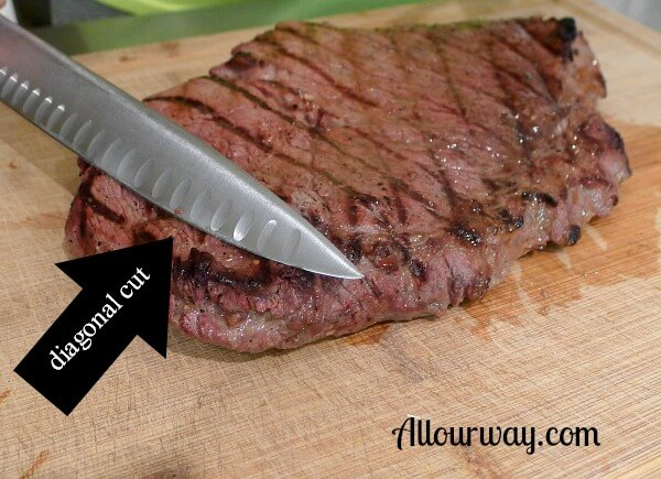 London Broil is cut on the diagonal which makes it tender and easy to chew allourway.com