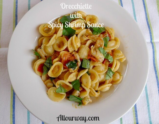 Orecchiette with Spicy Shrimp Sauce at allourway.com