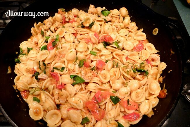Orecchiette with Spicy Shrimp in pan at allourway.com
