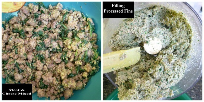 Collage showing Ravioli Meat and Cheese Filling being chopped in a food processor so you make a fine texture .