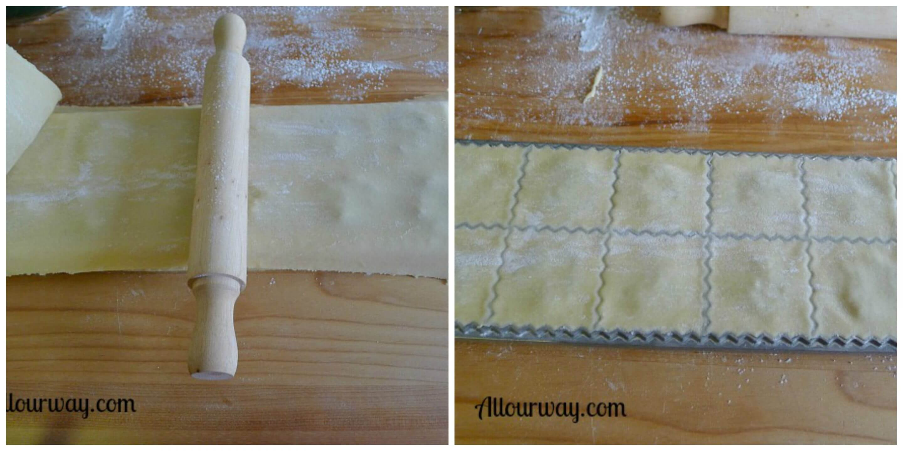 Ravioli rolling pin runs over the dough from center out to seal the edges between the two layers.