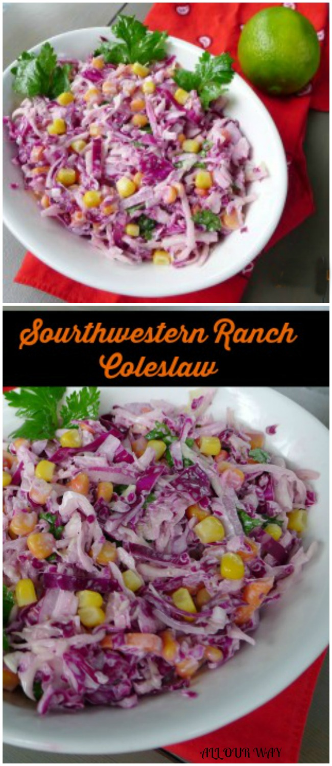 Southwestern coleslaw uses ranch dressing as a start and continues with the addition of adobo sauce and lime. A delicious spicy variation.