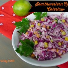 Southwestern Ranch Coleslaw spiced up ranch dressing with adobo sauce and includes cilantro, corn, lime juice, red onion at allourway.com