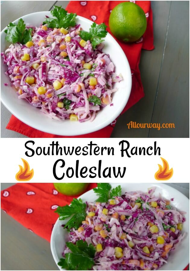 Collage featuring purple and green coleslaw with yellow corn in a white bowl on top of a red bandana with a lime and green cilantro as garnish.