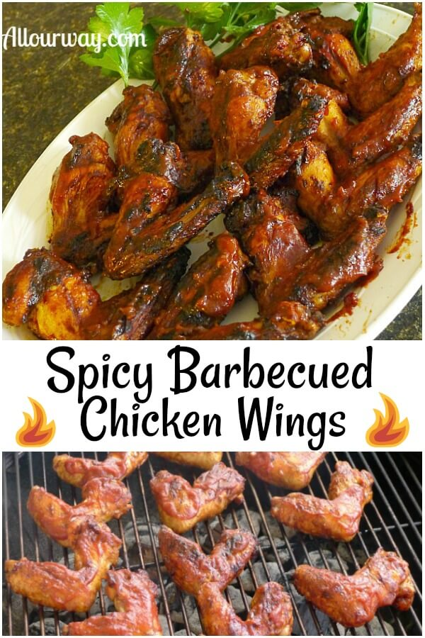 Collage of barbecued chicken wings on white platter and the chicken wings on a grate of a round kettle grill.