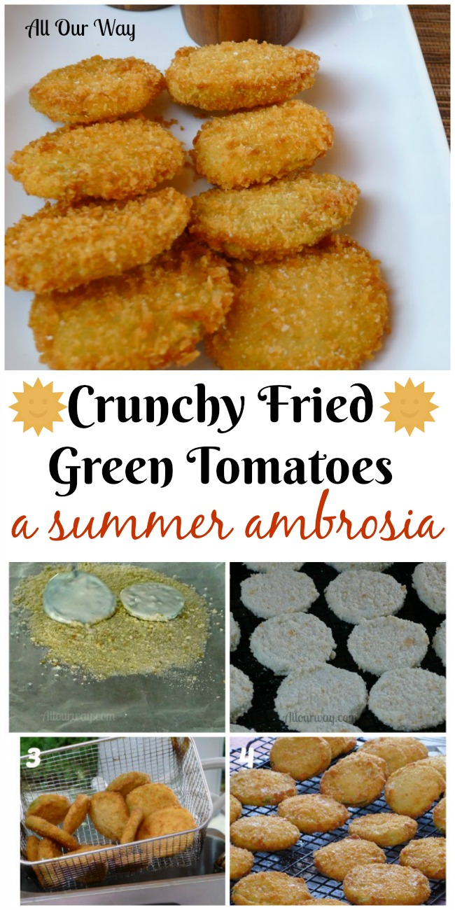 Collage of Crunchy Fried Green Tomatoes that's a real summer treat that is delicious as a side or an appetizer. So good you can't eat just one.