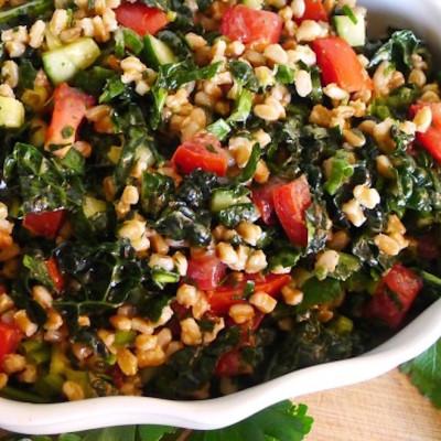 Farro Tabbouleh with Kale A Family Favorite Mediterranean Salad