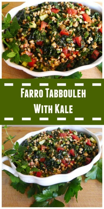 Collage of Farro Tabbouleh with Kale and Grape Tomatoes @allourway.com
