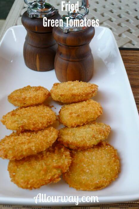 Fried Green Tomatoes Breaded with Panko Crumbs at allourway.com