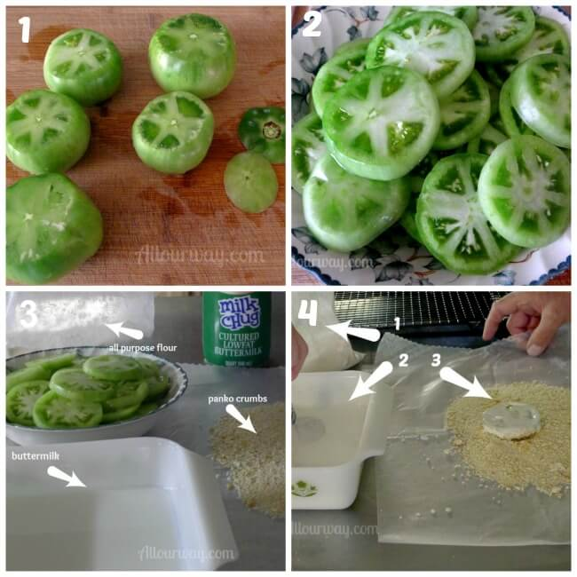 First four steps for preparing fried green tomatoes at allourway.com